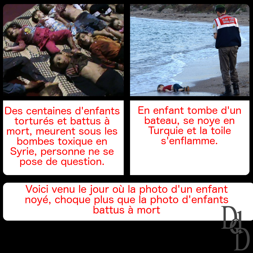 Voici venu le jour où la photo d'un enfant noyé, choque plus que la photo d'enfants battus à mort